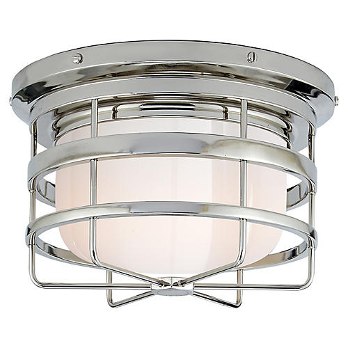 Crosby Flush Mount, Polished Nickel/White