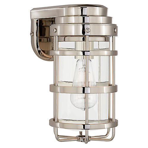 Crosby Small Sconce, Polished Nickel/Clear