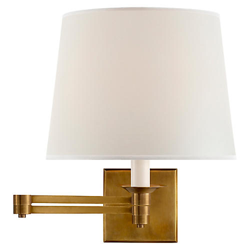 Evans Swing-Arm Sconce, Natural Brass