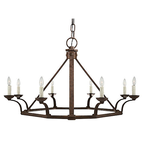 Robertson Single-Tier Chandelier, Natural Rust