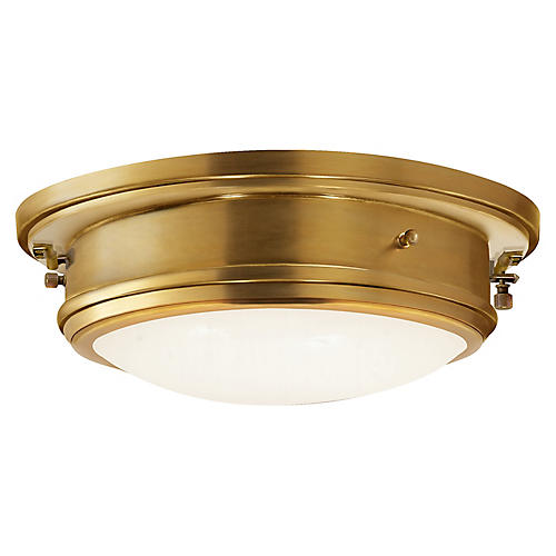 Marine Medium Flush Mount, Natural Brass