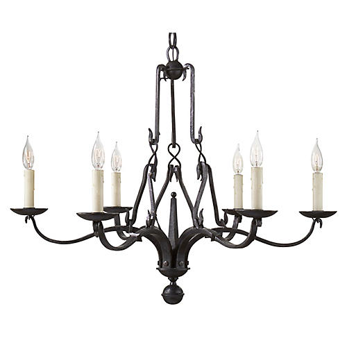Allegra Small Chandelier, Aged Iron