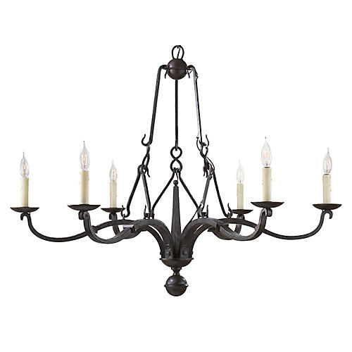 Allegra Medium Chandelier, Aged Iron