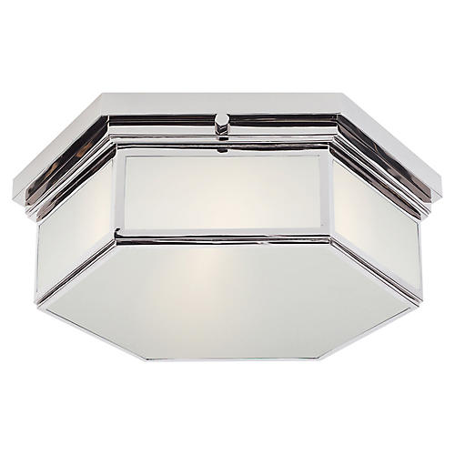Berling Small Flush Mount, Nickel/Frosted
