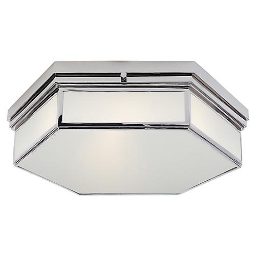Berling Large Flush Mount, Nickel/Frosted