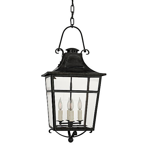 Carrington Small Lantern, French Rust/Clear