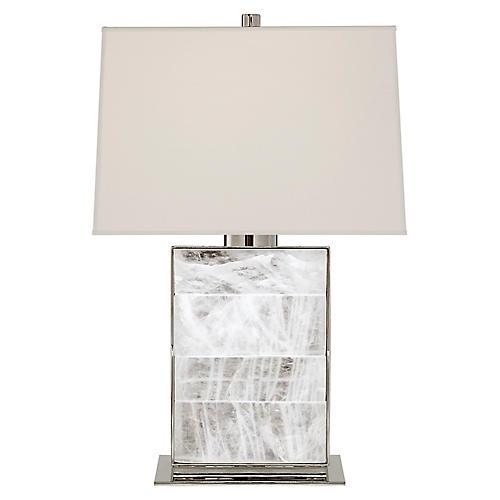 Ellis Bedside Table Lamp, White/Nickel