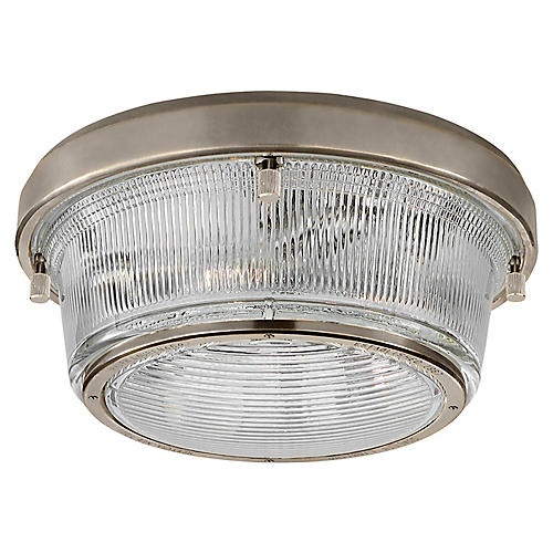 Grant Large Flush Mount, Antiqued Nickel/Clear