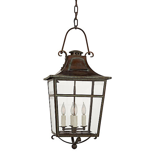 Carrington Small Outdoor Lantern, Verdigris