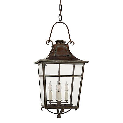 Carrington Small Outdoor Lantern, Verdigris