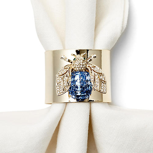S/2 Blue Bug Napkin Rings