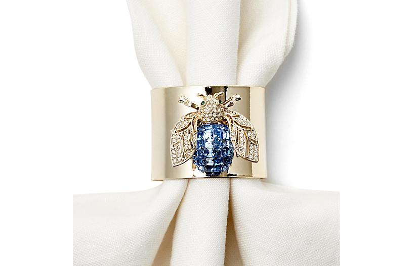 S/2 Blue Bug Napkin Rings