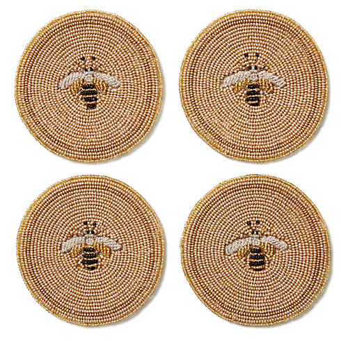 S/4 Beaded Bee Coasters