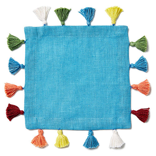 S/4 Pom Pom Cocktail Napkins