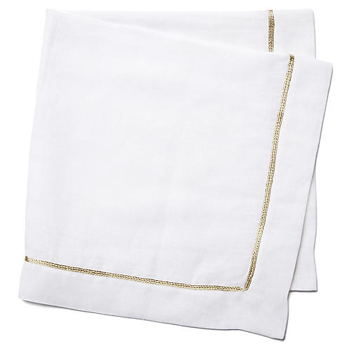 S/2 Gold-Edge Dinner Napkins