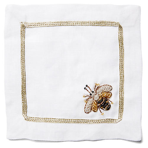 S/4 Beaded Bee Cocktail Napkins