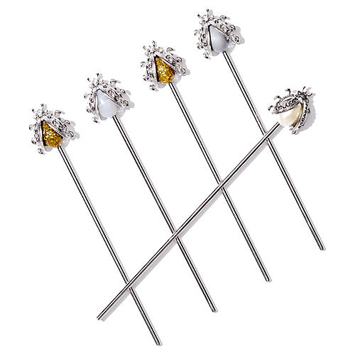 S/6 Vintage-Style Bug Swizzle Sticks