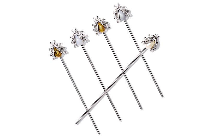 Set of 6 Vintage-Style Bug Swizzle Sticks - Joanna Buchanan