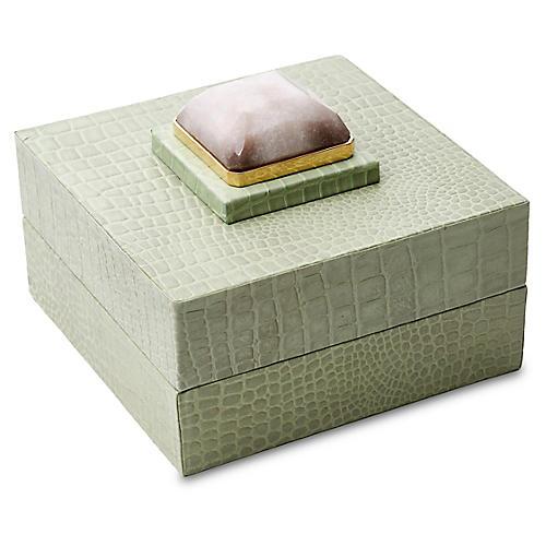 """6"""" Leather Box w/ Stone, Eau de Menthe"""