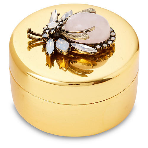 "3"" Brass Box w/ Vintage-Style Bug, Gold"
