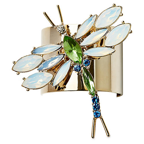 S/2 Dragonfly Napkin Rings, Gold/Multi