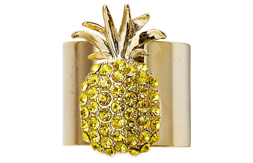 S/2 Pineapple Napkin Rings, Gold/Yellow