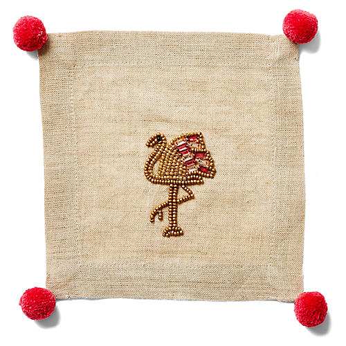 S/4 Flamingo Cocktail Napkins, Beige/Multi