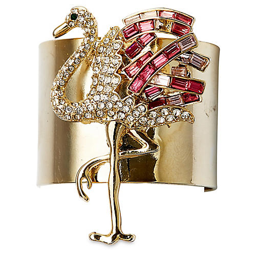 S/2 Flamingo Napkin Rings, Gold/Pink