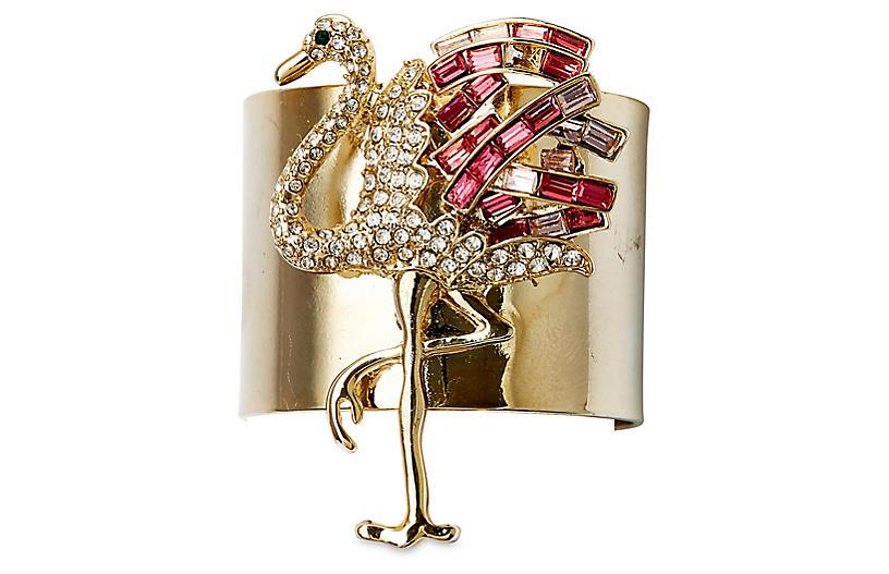 S/2 Flamingo Napkin Rings, Gold/Pink