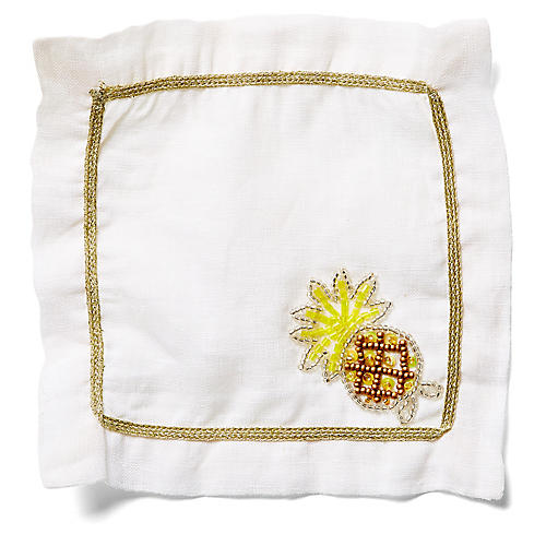 S/4 Pineapple Cocktail Napkins, White/Multi