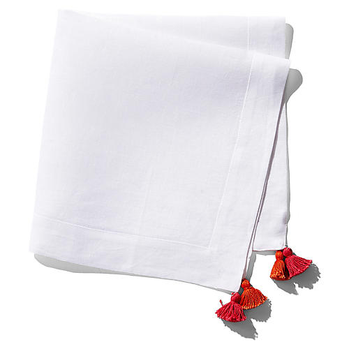 S/2 Tassel Dinner Napkins, White/Red