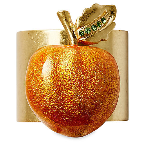 S/2 Peach Napkin Rings, Gold/Orange