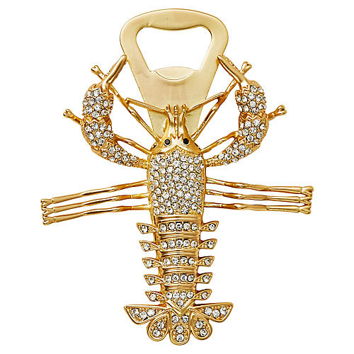 Lobster Bottle Opener, Gold/Crystal