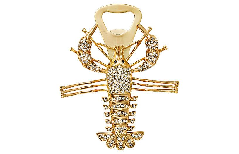 Lobster Bottle Opener, Gold/Crystal