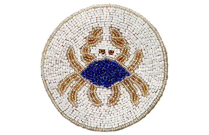 S/4 Crab Coasters, White/Cobalt