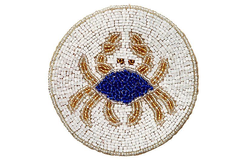 S/4 Crab Coasters, White/Cobalt