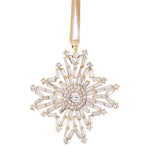 Baguette Snowflake Ornament, Crystal/Gold