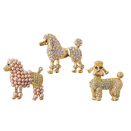 Asst. of 3 Poodle Clip Ornaments, Gold/Multi