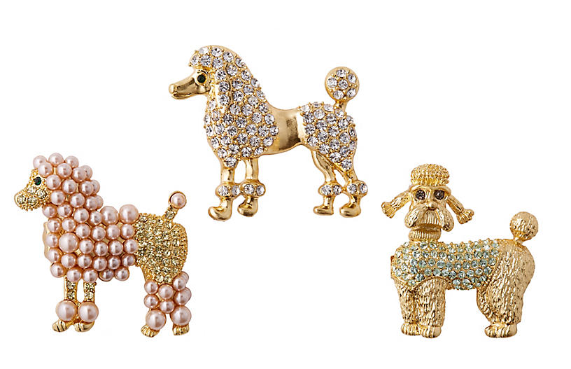 Asst. of 3 Poodle Clip Ornaments - Gold - Joanna Buchanan