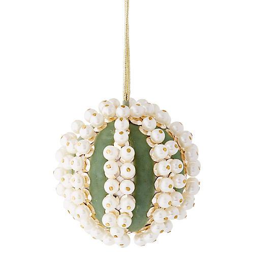 Pearl Ball Ornament, Mint Green