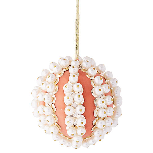 Pearl Ball Ornament, Pale Pink