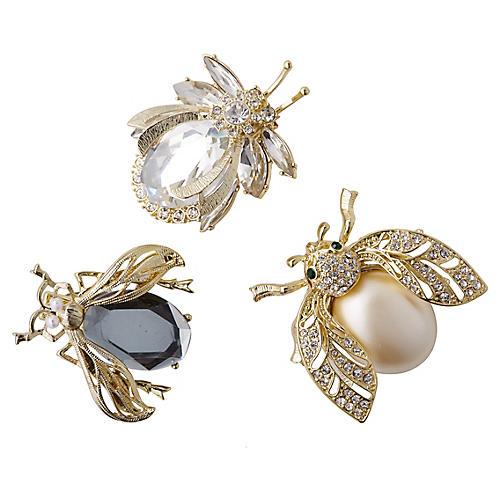 Classic Sparkle Bug Ornaments, Black/Multi