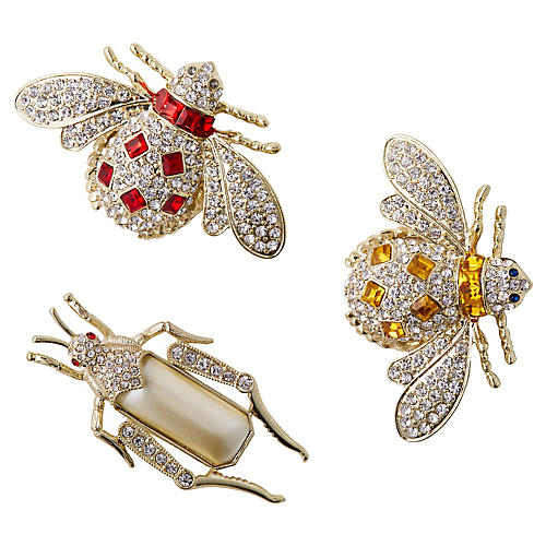 Jeweled Insect Clip Ornaments, Silver/Multi