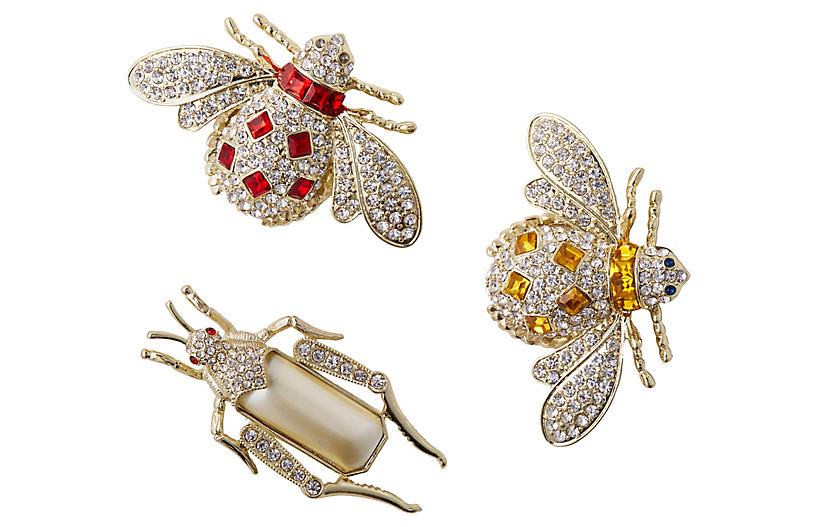 Jeweled Insect Clip Ornaments - Silver - Joanna Buchanan