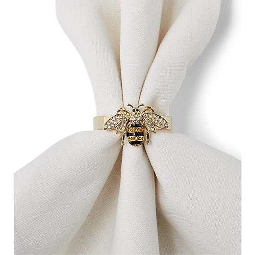 S/4 Bee Napkin Rings, Gold/Multi
