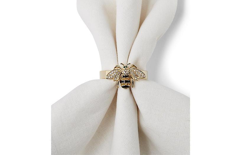 S/4 Bee Napkin Rings, Gold/Multi