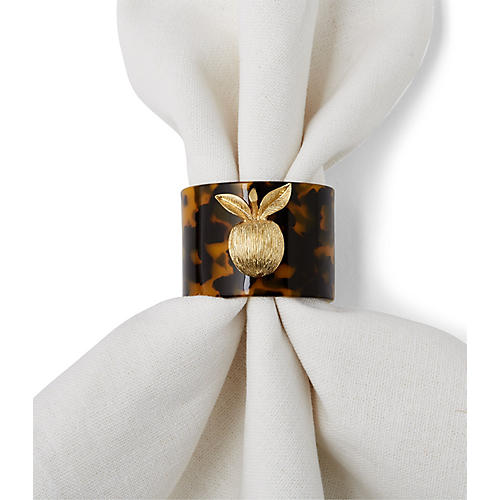 S/4 Apple Napkin Rings, Tortoise/Gold