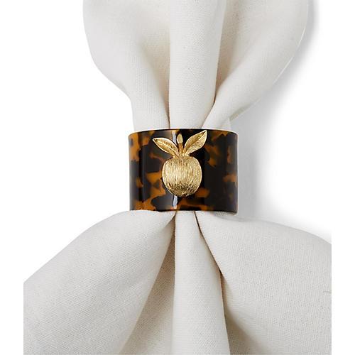 S/4 Apple Napkin Rings, Tortoise/Gold