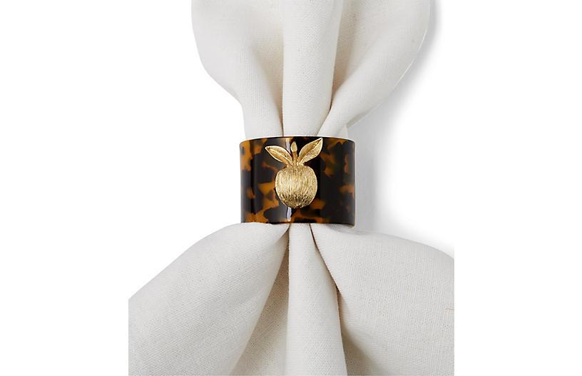 Set of 4 Apple Napkin Rings - Tortoise/Gold - Joanna Buchanan