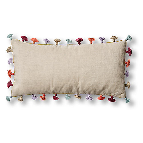 Mini Tassel 10x20 Lumbar Pillow, Multi Linen
